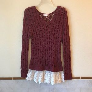Womens Open Knit Tunic Sweater With Lace Trim